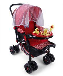 Musical Baby Stroller Cum Pram - Red