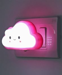 Smiling Cloud Shaped Night Lamp - Pink White