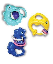 OK Play Jolly Rattle Pack Of 3 - Green Blue Yellow