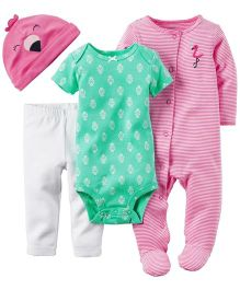 Carters Romper Onesie Cap And Legging Set - Pink Green White