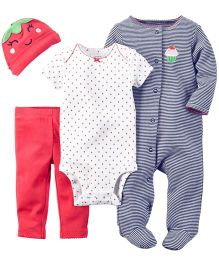 Carters Romper Onesie Cap And Legging Set - Red Grey White