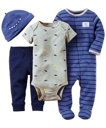 Carters Romper Onesie Cap And Legging Set - Blue & Grey
