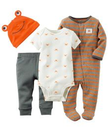 Carters Romper Onesie Cap And Legging Set - White Grey Brown