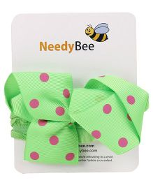 NeedyBee Soft Elastic Bow Headband With Dot Print - Green Pink