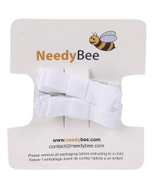 NeedyBee Double Deck Baby Hair Clip Pack Of 2 - White