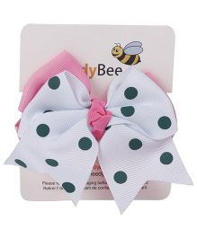 NeedyBee Polka Dot Bow Hair Clip - White & Pink