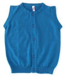 Oye Sleeveless Cardigan Sweater - Teal Blue