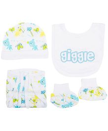 M&M Cap Bib Booties And Nappy Set - White