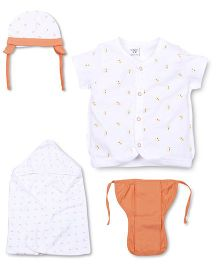 M&M 4 Piece Organic Cotton Clothing Gift Set Duck Print - White Orange