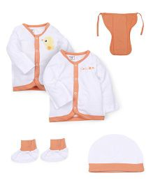 M&M 5 Piece Infant Clothing Set - White Orange