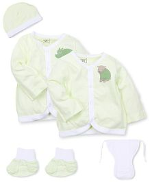 M&M 6 Piece Organic Cotton Clothing Gift Set - Green White