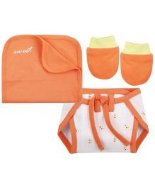 Babyoye Nappy With Burp Cloth And Mittens - White & Orange