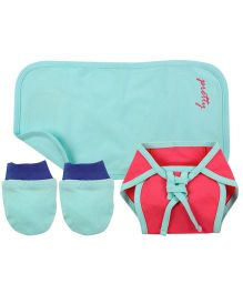 Babyoye Nappy With Burp Cloth And Mittens - Pink Sky Blue