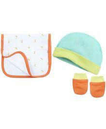 Babyoye Cap With Mittens & Burp Cloth - Multi Colour