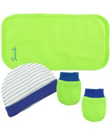 Babyoye Cap With Mittens And Burp Cloth - Green Blue