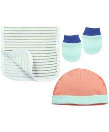 Babyoye Cap With Mittens & Burp Cloth - Multi Coloured