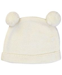M&M Winter Cap With Pom Pom - Off White