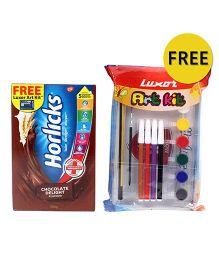 Horlicks Chocolate Flavor Refill Pack With Free Luxor Art Kit- 500 gm