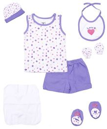 M&M 9 Piece Clothing Gift Set - White Purple