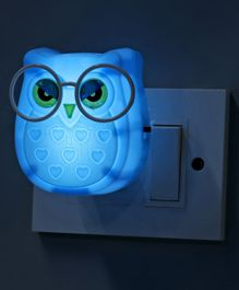 Night Lamp Droopy Eyed Owl Shape - Blue