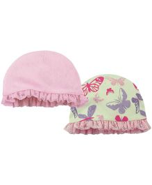 Babyoye Cap With Frills Pack Of 2 - Pink