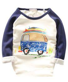 Pre Order - Lil Mantra Vehicle Print Tee - Navy Blue & White
