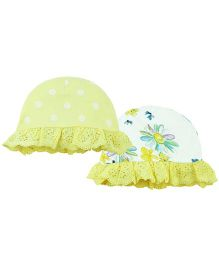 Babyoye Cap With Frills Pack Of 2 - Yellow White