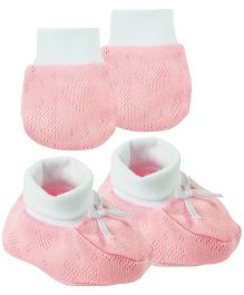 Babyoye Infant Mittens And Booties Set - Pink