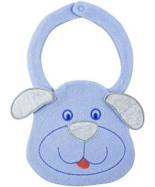 Babyoye Dog Face Snap Button Bib - Blue