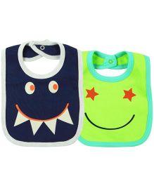 Babyoye Smile Snap Buttons Bibs Pack Of 2 - Lemon Navy Blue