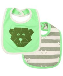 Babyoye Printed Snap Button Bibs Pack of 2 - Green