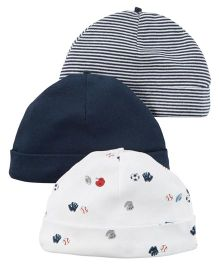 Carters Multi Print Beanie Caps Pack Of 3 - Navy