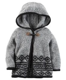 Carters Full Sleeves Poncho Style Hooded Jacket - Grey