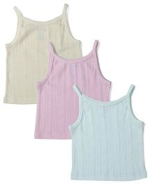Snuggles Singlet Slips Pack of 3 - White Beige Sky Blue