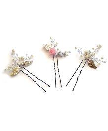 Soulfulsaai Sprig U Pins Set Of 3 - Pink & Silver