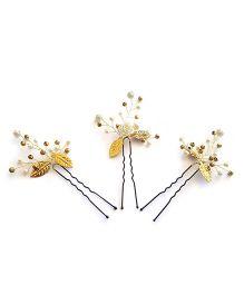 Soulfulsaai Sprig U Pins Set Of 3 - Off White & Golden