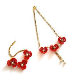 Soulfulsaai Wire Flowers Necklace & Bracelet Set - Red