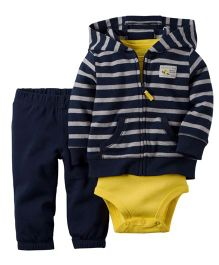 Carter's 3-Piece Cardigan Set - Navy & Yellow
