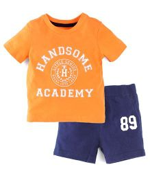 Carter's 2-Piece Jersey Tee & French Terry Short Set - Orange & Navy
