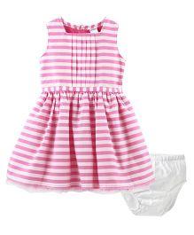 Carter's Striped Sateen Dress - Pink