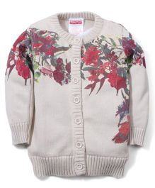 Fisher Price Apparel Full Sleeves Floral Knit Design Cardigan Sweater - Beige