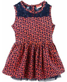 Fisher Price Apparel Floral Print Sleeveless Dress - Navy Blue & Light Orange
