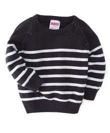 Fisher Price Apparel Full Sleeves Raglan Front Open Sweater - Black White