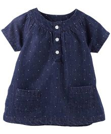 Fisher Price Apparel Half Sleeve Denim Top With Pocket - Blue