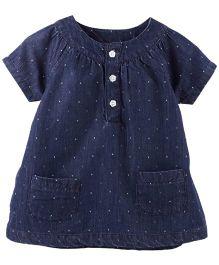 Fisher Price Apparel Half Sleeve Denim Top With Pocket - Blue
