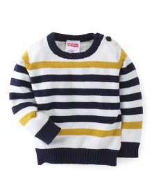 Fisher Price Apparel Full Sleeves Stripe Sweater - White Yellow Navy