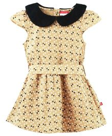 Fisher Price Apparel Printed Cap Sleeves Dress - Beige