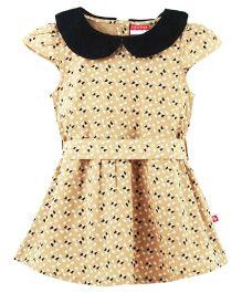 Fisher Price Apparel Printed Cap Sleeves Dress - Beige