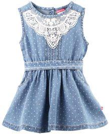 Fisher Price Apparel Sleeveless Dress Lace Detail Yoke - Blue