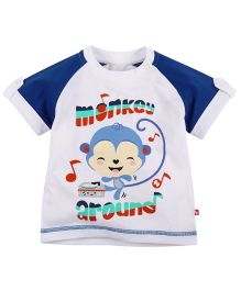 Fisher Price Apparel Monkey Around Half Sleeve Tee - White And Blue